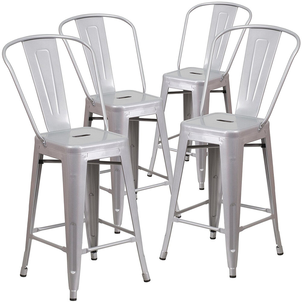 New Set Of 4 Industrial Style Counter Height Stool W Back