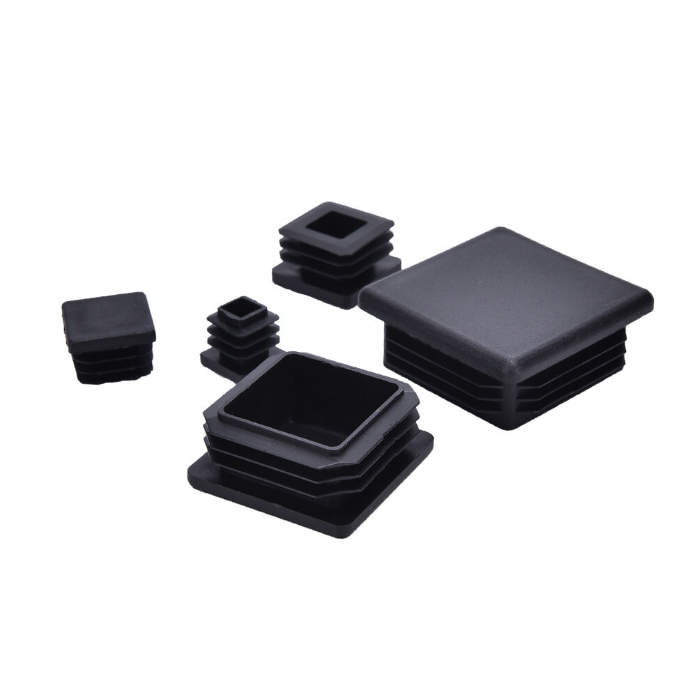 10x Plastic Black Blanking End Caps Square Inserts For