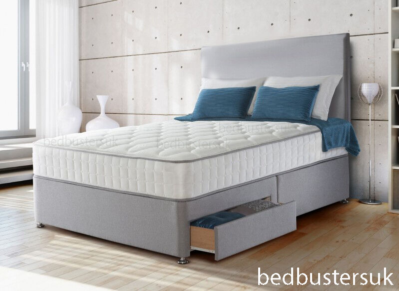 Suede divan bed set memory mattress headboard 3ft 4ft for 4ft 6 divan bed