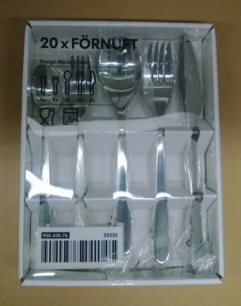 20pc ikea fornuft flatware silverware set spoon fork knife new in box ebay. Black Bedroom Furniture Sets. Home Design Ideas