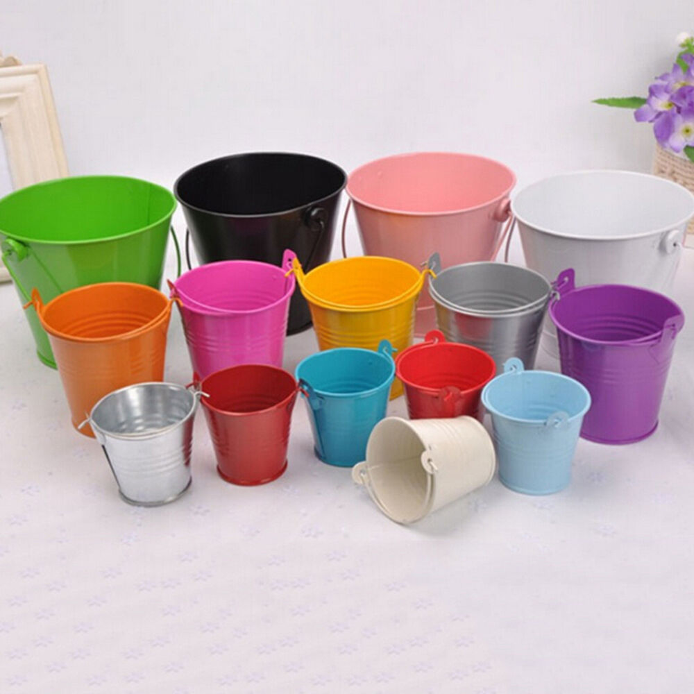 Mini metal colorful bucket candy keg pails diy wedding for Small pail buckets
