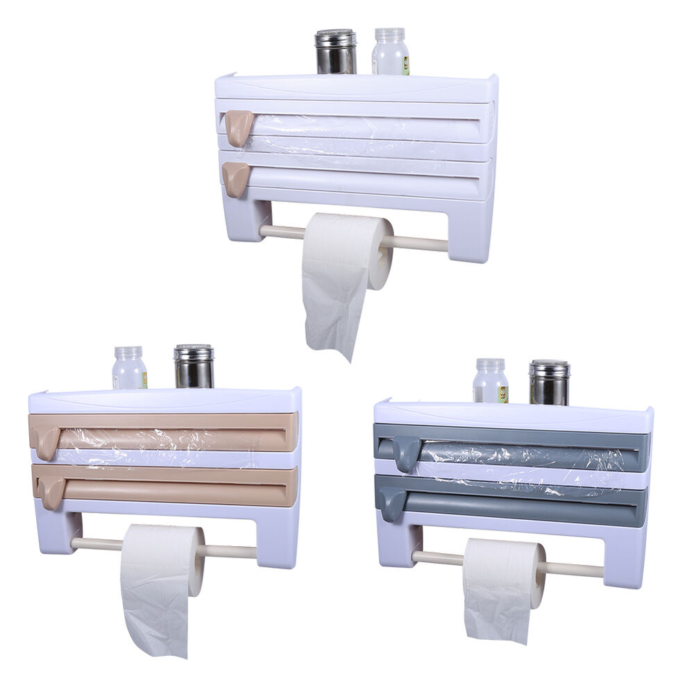 kitchen triple roll paper towel holder dispenser cling film tin foil rack es ebay. Black Bedroom Furniture Sets. Home Design Ideas
