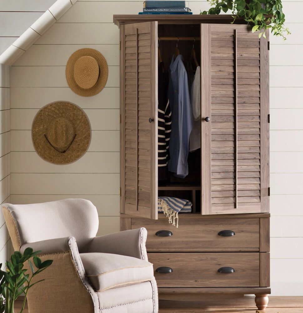 wardrobe armoire storage closet clothes cabinet bedroom. Black Bedroom Furniture Sets. Home Design Ideas