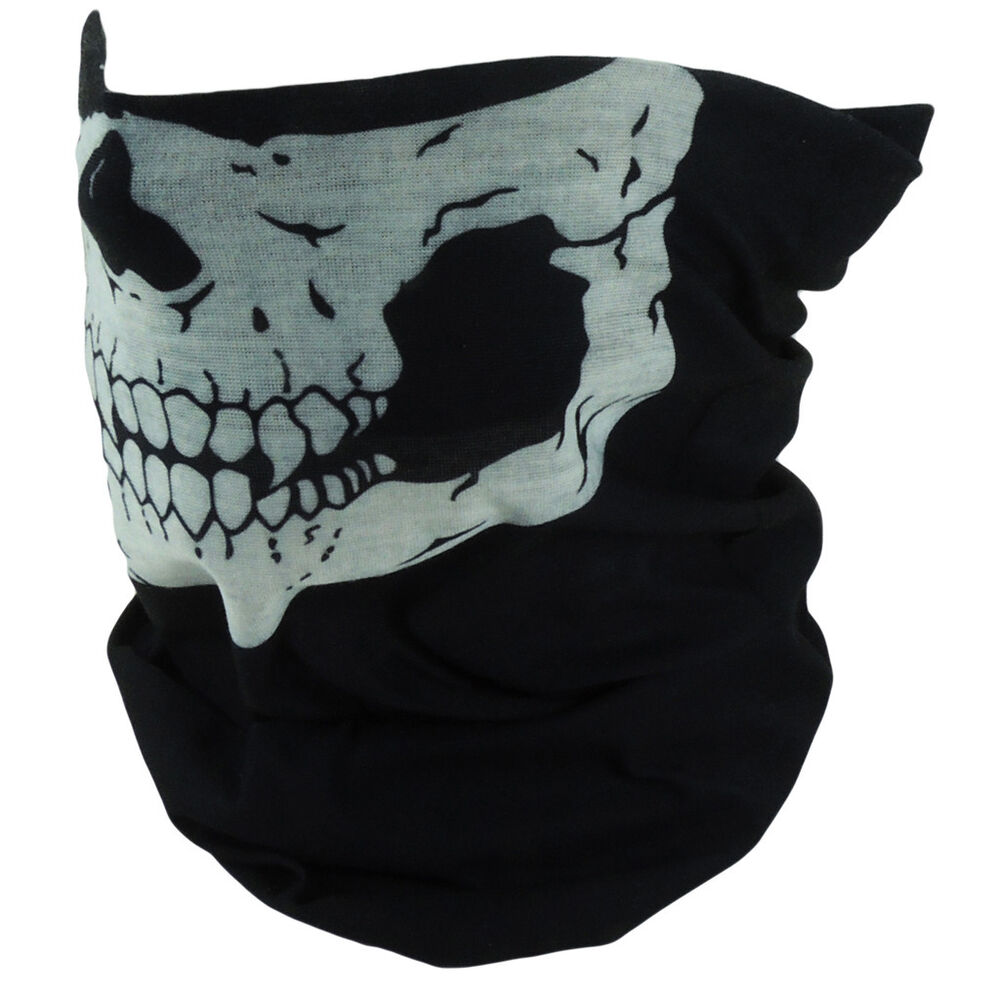 Skeleton Skull Half Face Mask Motorcycle Biker Ski ...