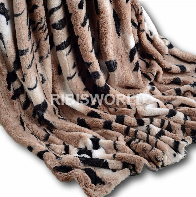 Tiger Skin Rabbit Faux Fur Throw Super Soft Plush Chic