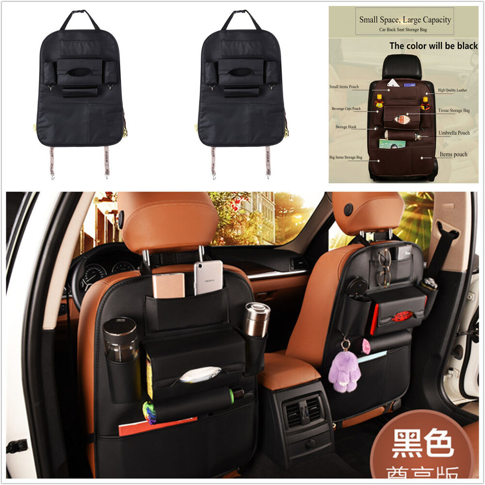multi car seat back storage bag multi pocket organizer waterproof leather black ebay. Black Bedroom Furniture Sets. Home Design Ideas