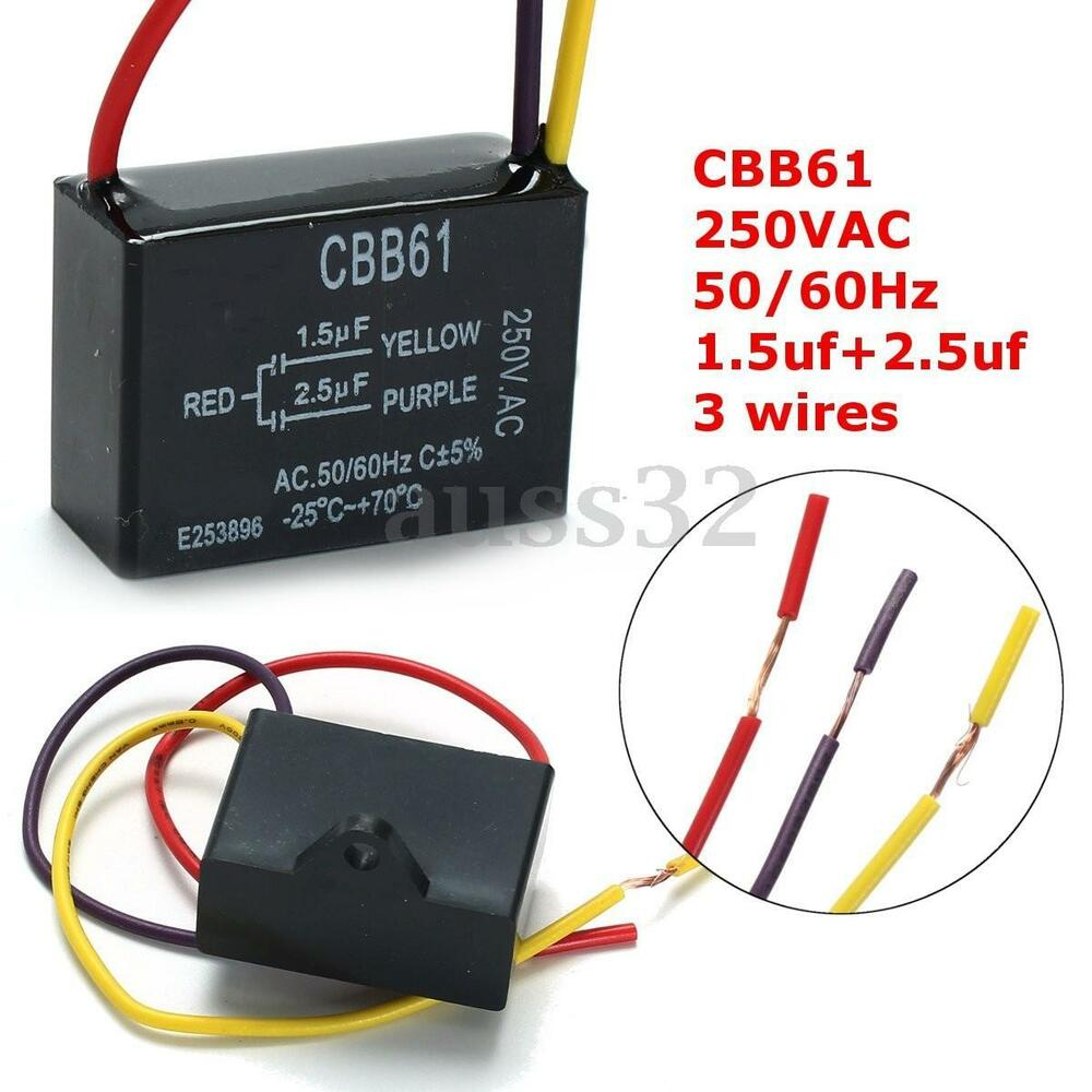 Cbb61 1 5uf 2 5uf 250vac 50 60hz Ceiling Fan Capacitor 3