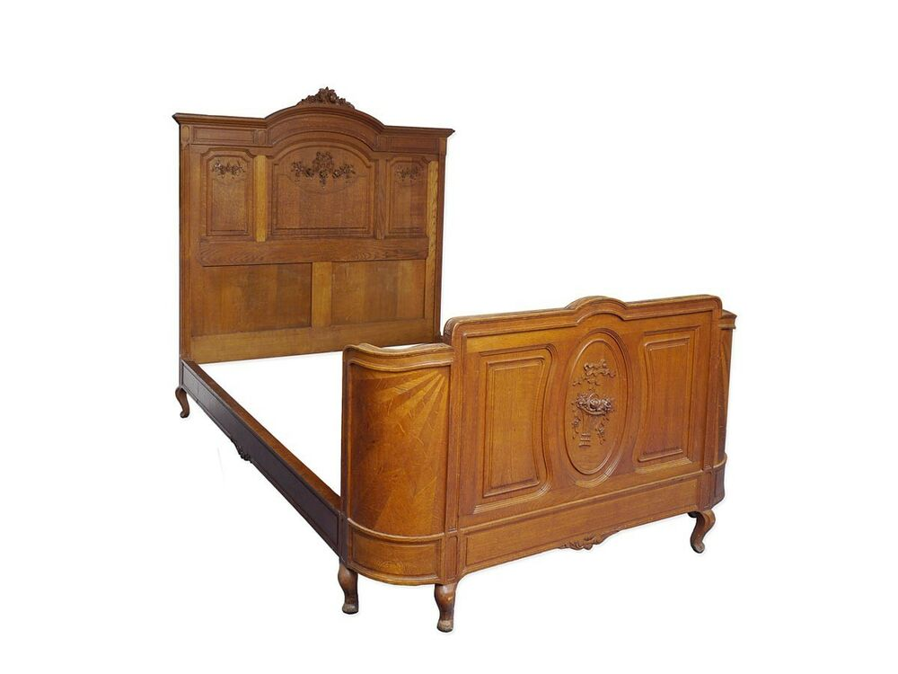 bett bettrahmen bettgestell jugendstil um 1900 aus eiche mm 134x200 cm 5628 ebay. Black Bedroom Furniture Sets. Home Design Ideas