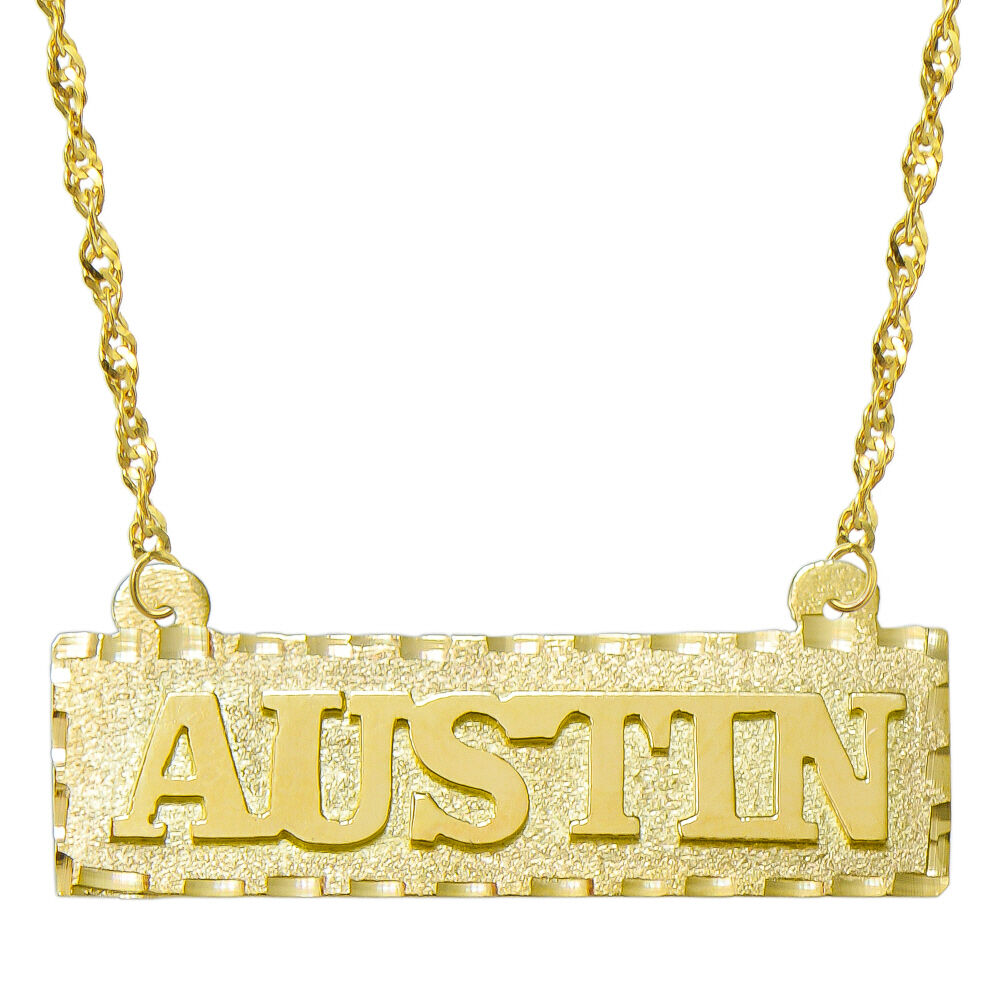 14k Yellow Gold Personalized Name Plate Necklace Style 1 Ebay