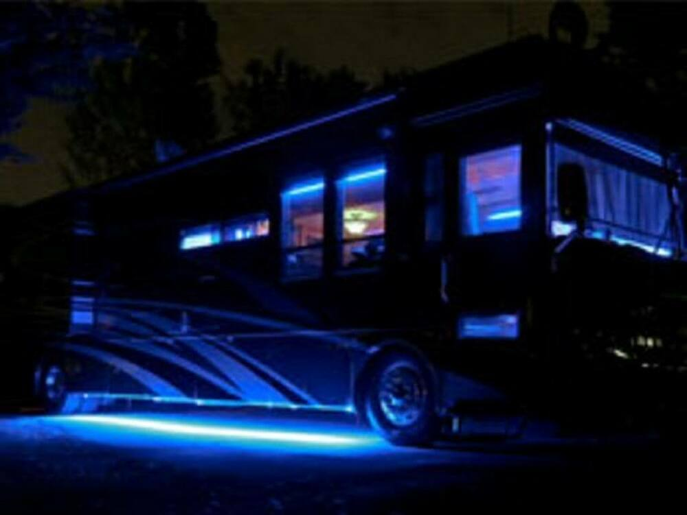 15ft 12v rv motorhome trailer blue led under glow waterproof light bulb strip ebay. Black Bedroom Furniture Sets. Home Design Ideas