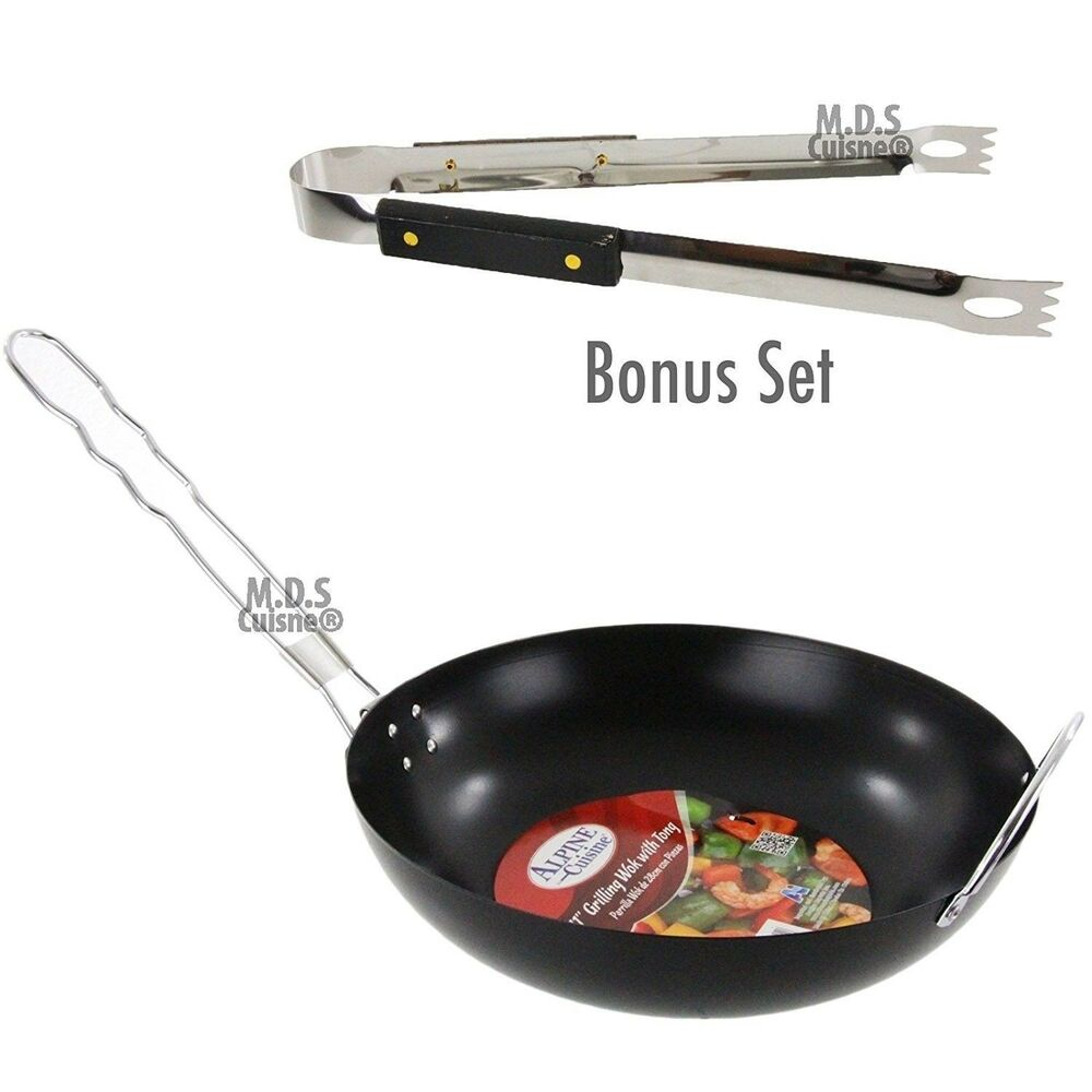bbq stir fry pan with tongs outdoor grill wok carbon steel non stick set ebay. Black Bedroom Furniture Sets. Home Design Ideas