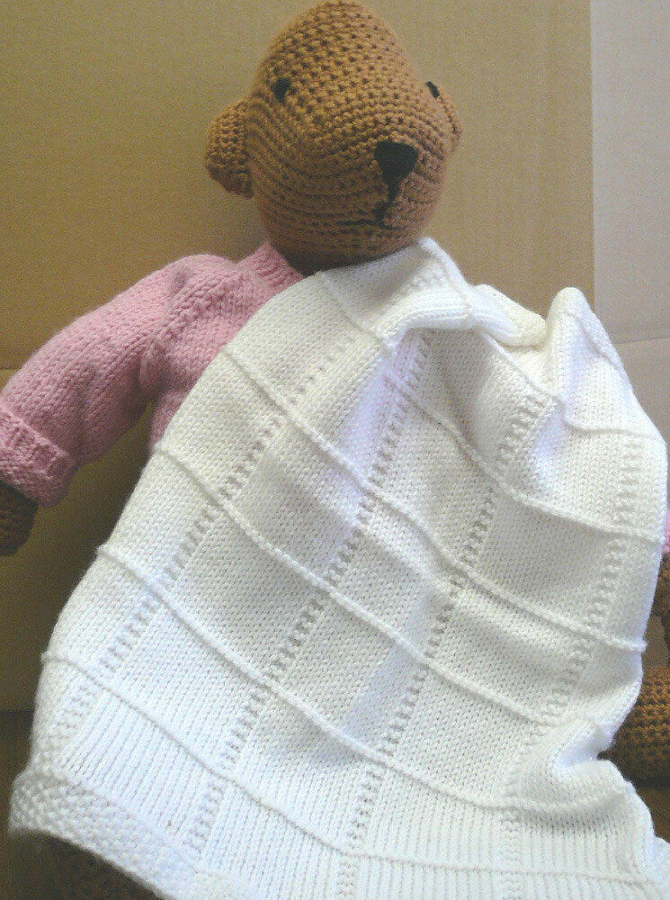 KNITTING PATTERN - SEED STITCH AND SQUARES BABY BLANKET ...