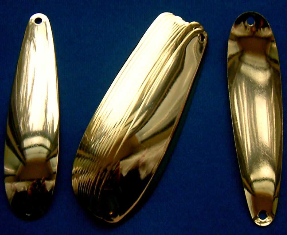 6 gold plated smooth 3 7 8 flutter spoon blanks 025 for Fishing spoon blanks