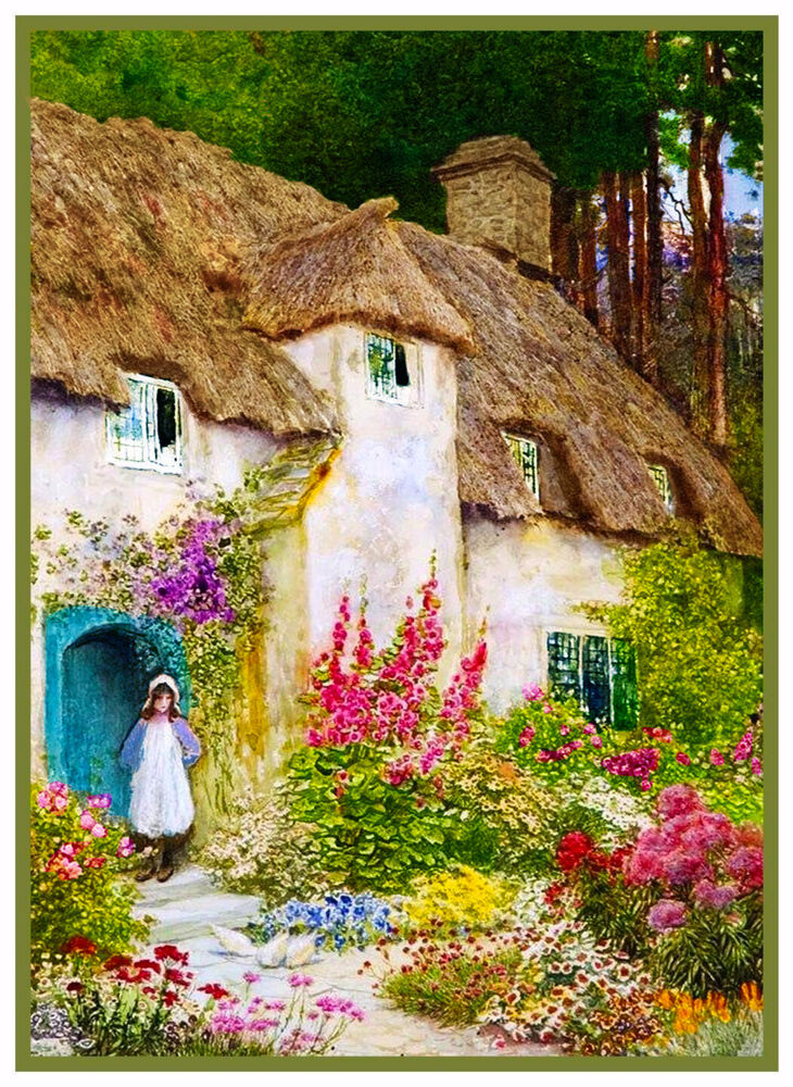 A girl at english cottage door by a c strachan counted for Cottage back door