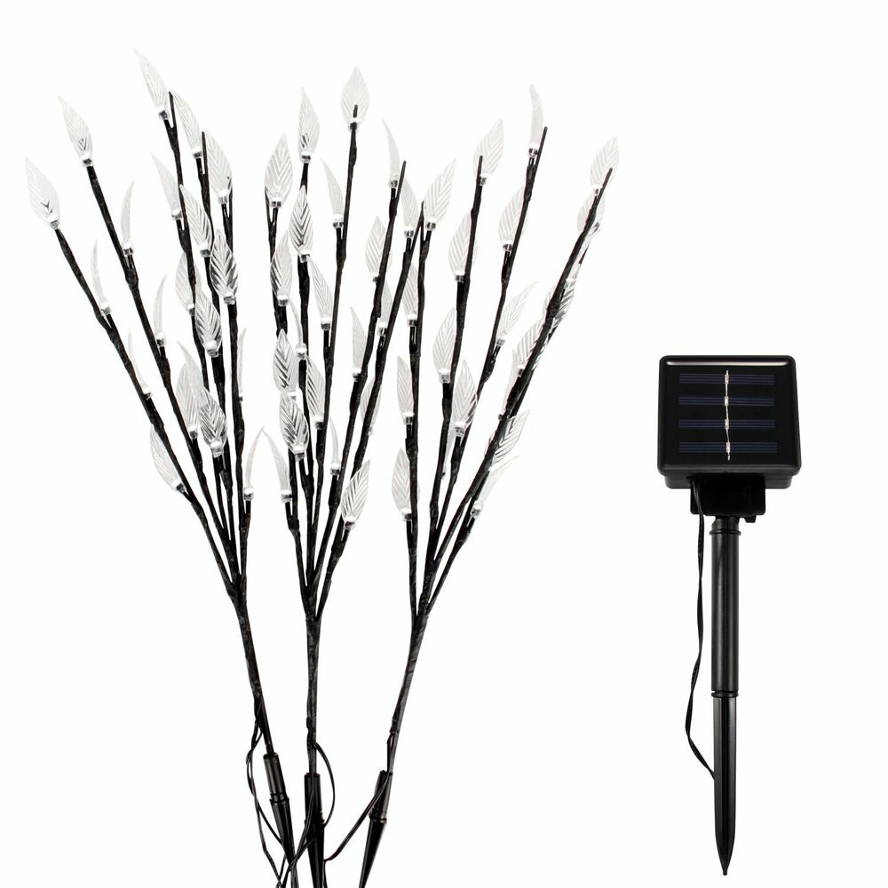 Stake Christmas Trees: White Solar Garden Tree Shaped Stake Light 3 Branches