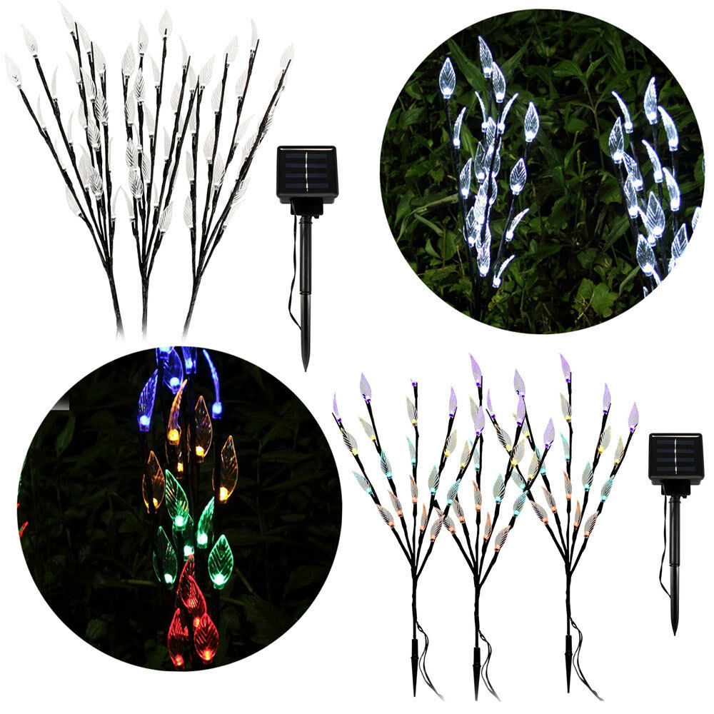 60 Led 3 Branches Tree Twig Leaf Solar Powered Outdoor