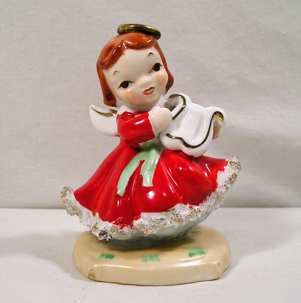 Vintage christmas angel figurine red gown gold harp