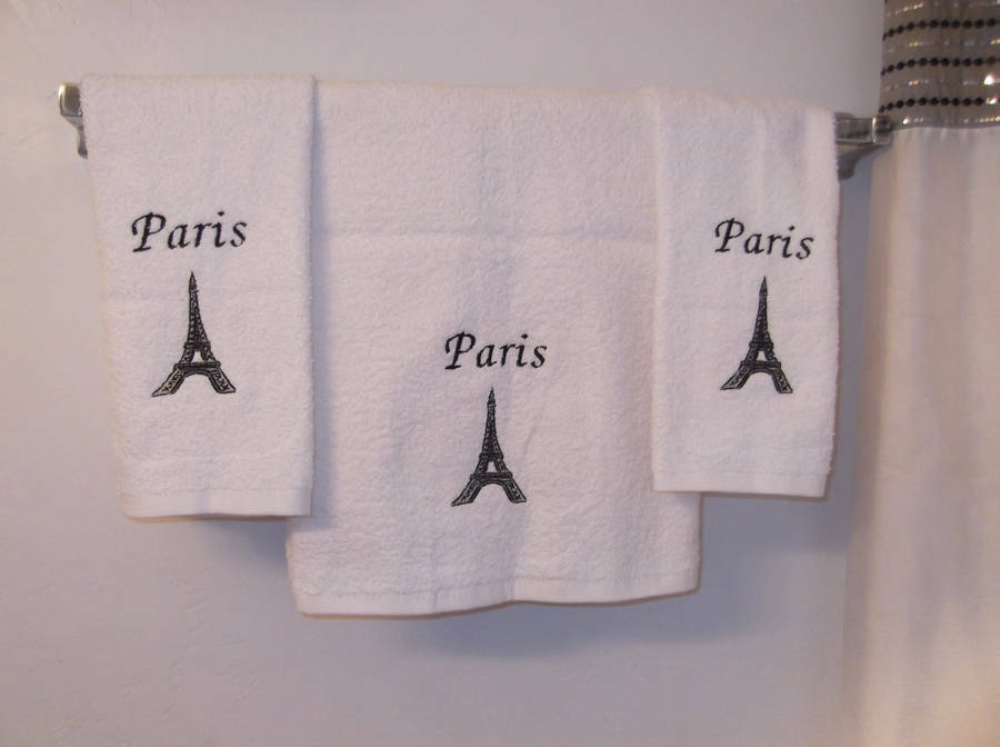 Embroidered Paris Eiffel Tower Set Of 3 Bath Hand Towels