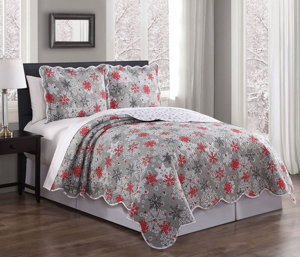 Gray White Quilt : Piece snowflake red gray white quilt set