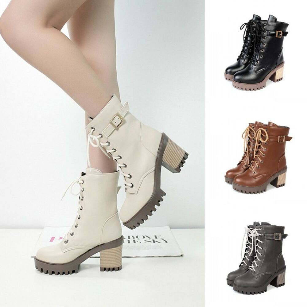 womens combat boots lace up buckle chunky high heels