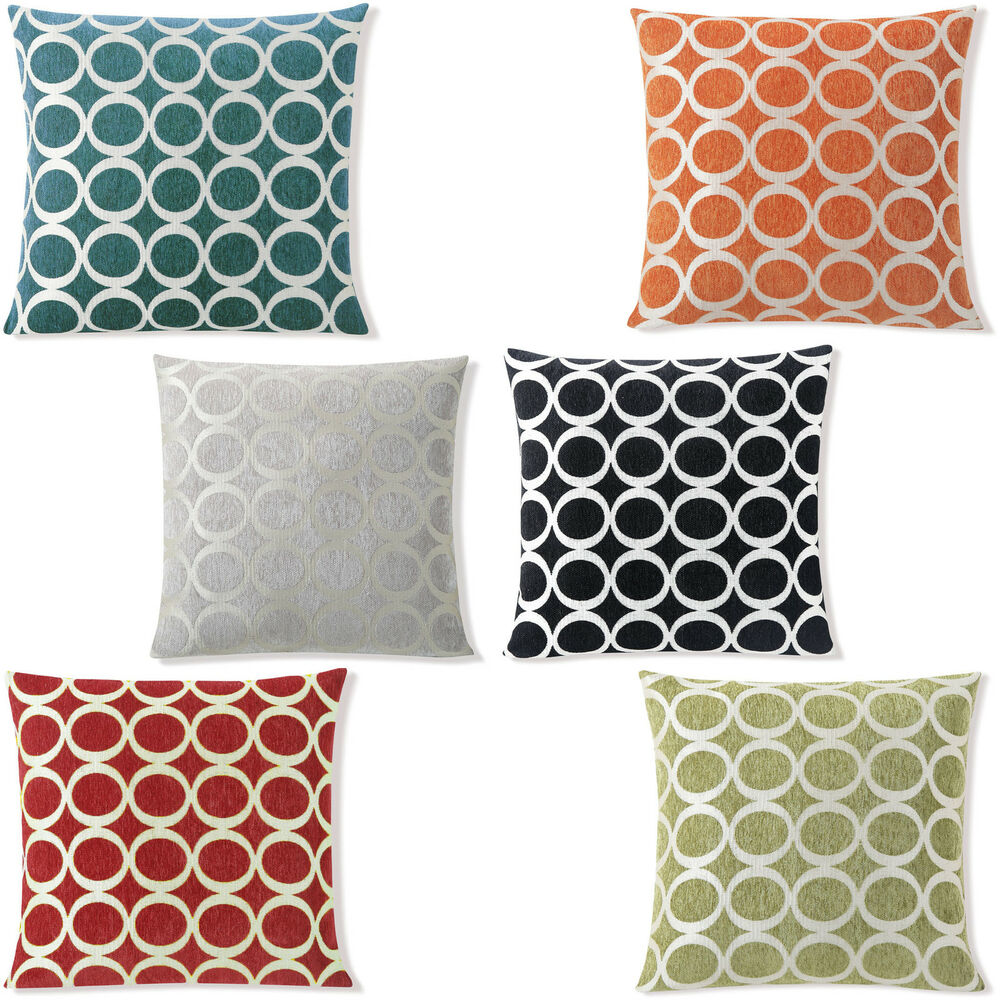 chenille pillow cover with zipper 20 39 x 20 euro size ring chain design ebay. Black Bedroom Furniture Sets. Home Design Ideas