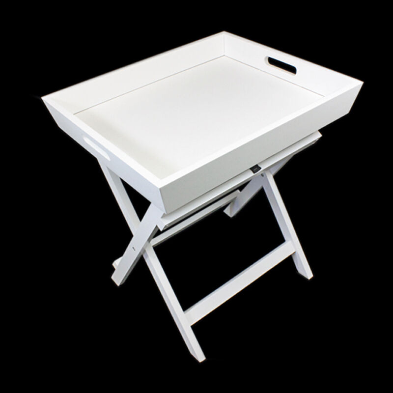 White Butler Serving Tray Folding Side Coffee Tea Table Handles Portable Desk Ebay