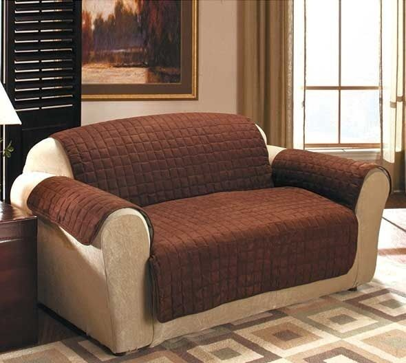 Love Sofas Ebay Shop: CHOCOLATE BROWN QUILTED SUEDE PROTECTIVE FURNITURE SOFA