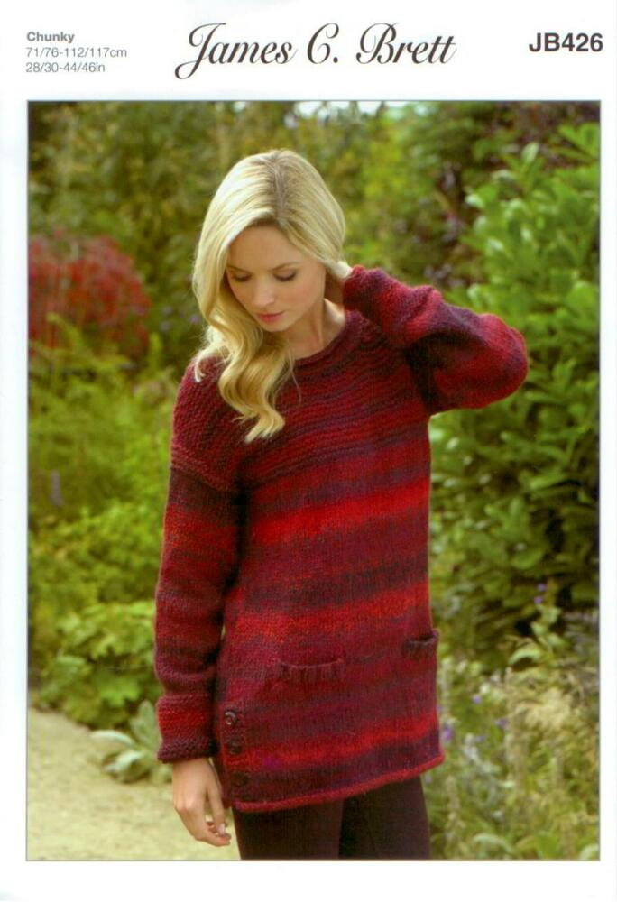 1216529ef James C Brett JB426 Knitting Pattern Womens Sweater in Marble Chunky  Glamour