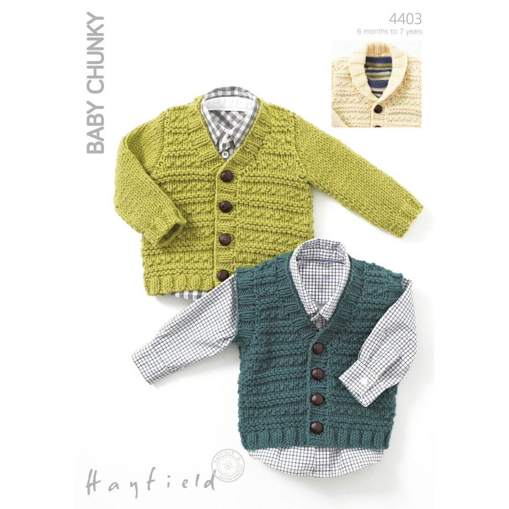 Knitting Pattern For Childs Chunky Cardigan : Sirdar Knitting Pattern - 4403 - Waistcoat Cardigan - Hayfield Baby Chunky ...