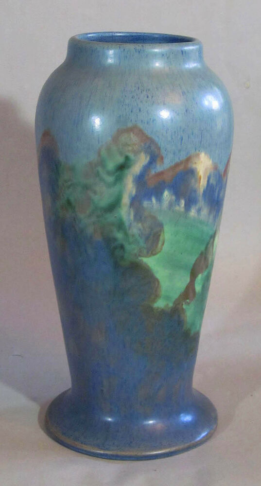 Arts and crafts art pottery scenic vase 12 inches high ebay for Arts and crafts pottery