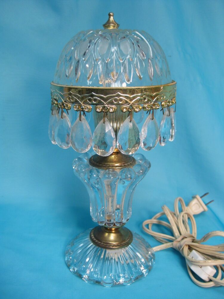Lovely Vintage French Boudoir Glass Lamp With Crystal