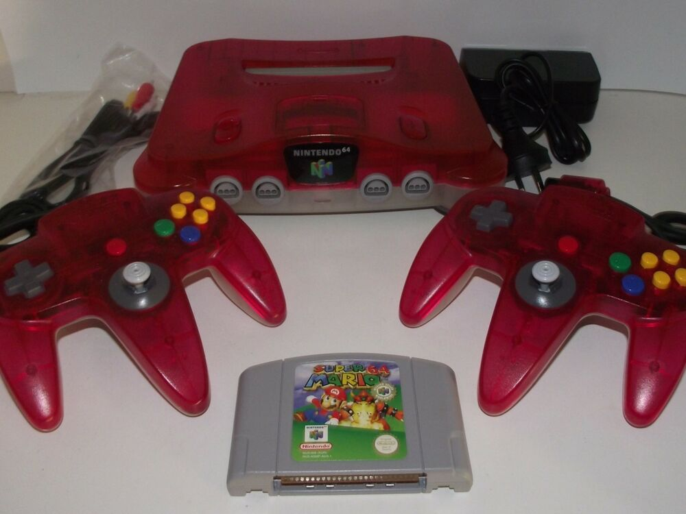 Watermelon red and clear nintendo 64 console super mario 64 n64 pal preloved ebay - Super nintendo 64 console ...