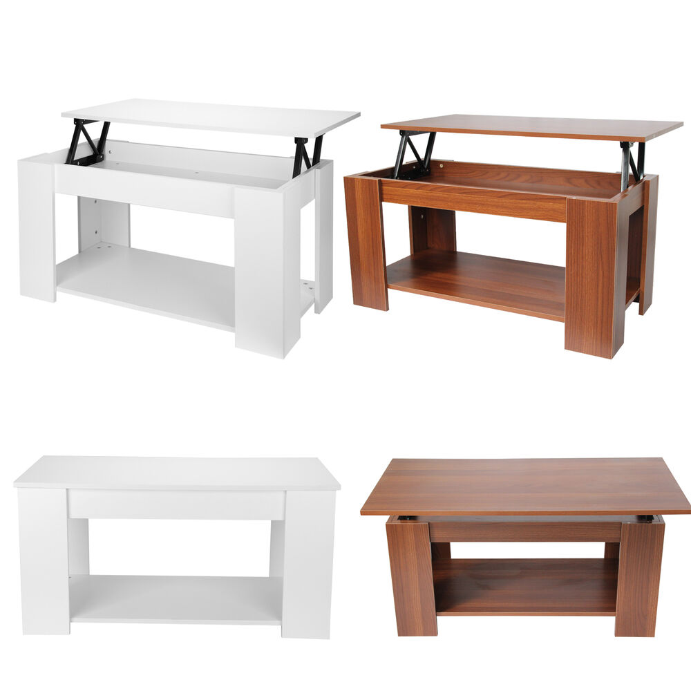 White Brown Storage Large Solid Lift Up Coffee Table Light Oak Wood Shelf Ebay