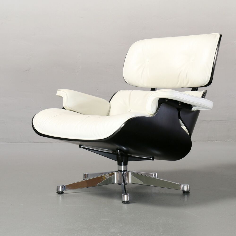 ray charles eames lounge chair schwarz wei f r vitra leder original ebay. Black Bedroom Furniture Sets. Home Design Ideas