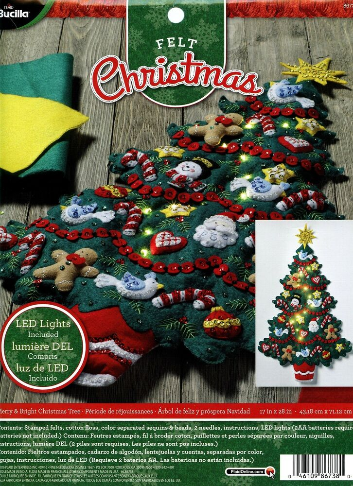 Wall Hanging Christmas Tree With Lights : Bucilla Merry & Bright Christmas Tree ~ Felt Wall Hanging Kit #86738 Real Lights eBay