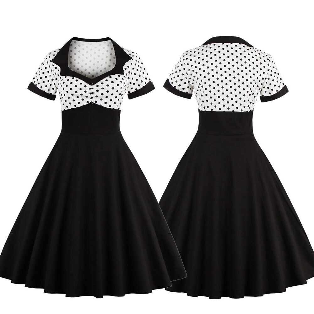 50er 60er jahre rockabilly kleid vintage pin up swing party tanzkleid petticoat ebay. Black Bedroom Furniture Sets. Home Design Ideas