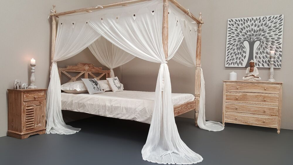 Natural mosquito net four poster bed canopy curtain king size 185cm x 205cm ebay - Four poster bed curtains ...