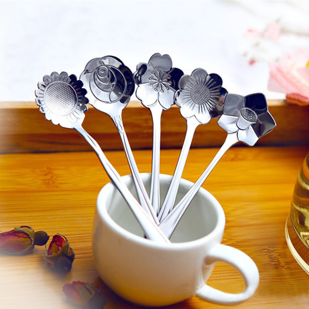 5pc/set Practical Flower Shape Coffee Spoon Stainless