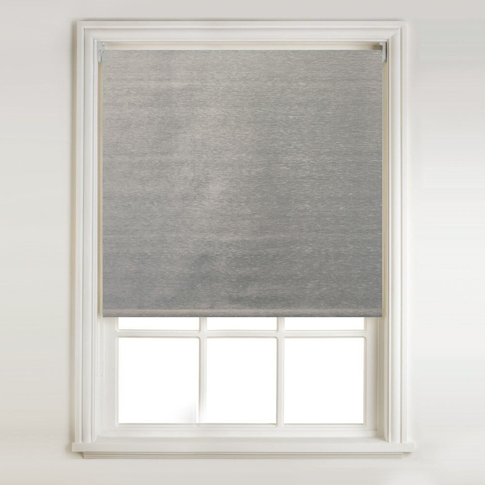 Silver Grey Chenille Thermal Roller Blind Metal