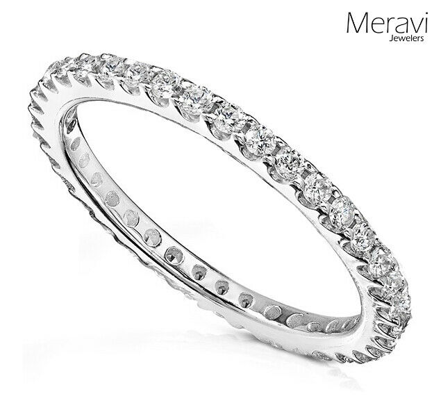 New Women Sterling Silver Wedding Band Anniversary Thin Cz