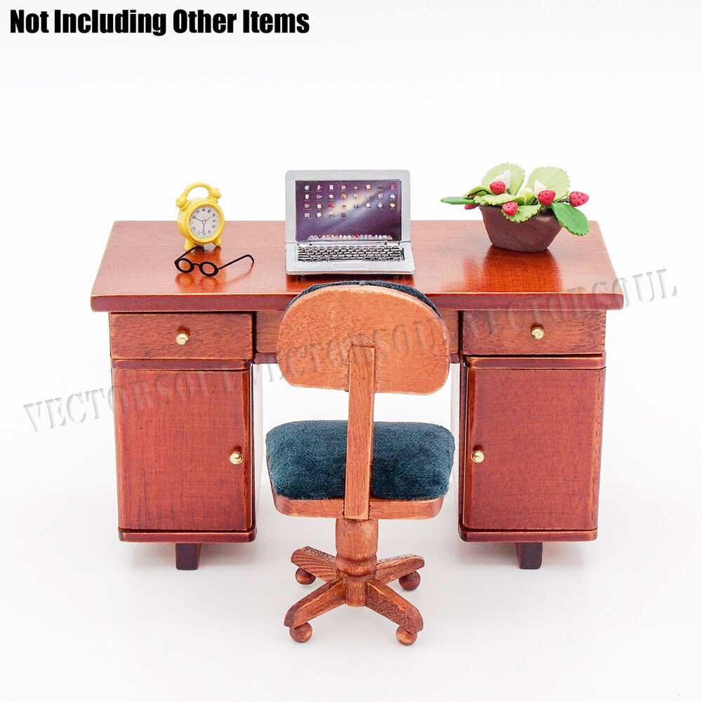 12 dollhouse wooden office furniture miniature desk chair table