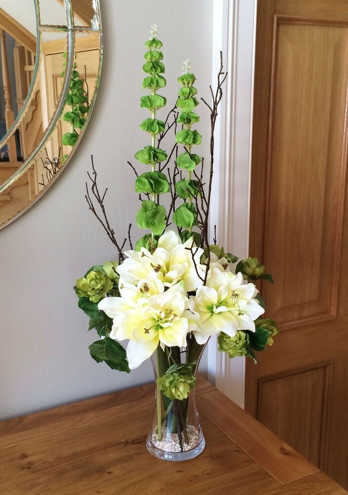 Large artificial vase arrangement with cream amaryllis and for Artificial hops decoration
