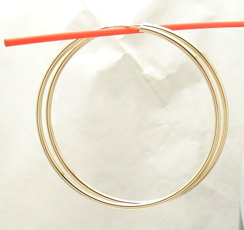 14k yellow gold endless hoop earrings 2mm all 2mm x 60mm 2 3 8 quot large plain shiny endless hoop earrings