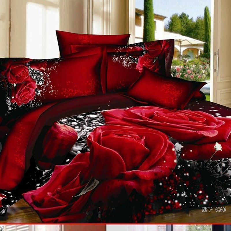 New Style 3d Red Rose 100 Cotton Queen Size Bedding Set