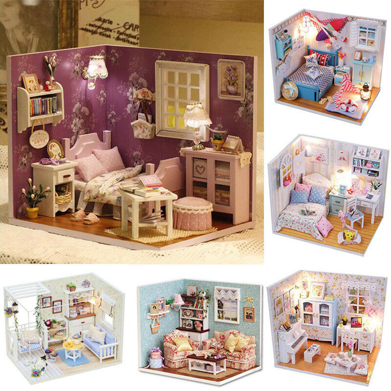 Diy New Doll House Mini Wooden Dollhouse With Lights Furniture Kit Gift 6 Model Ebay