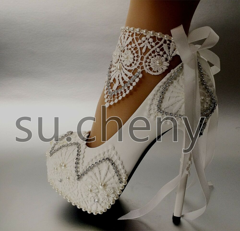 3 4 Heel White Ivory Satin Lace Ribbon Open Toe Wedding: Su.cheny White Light Ivory Lace Heel Platform Ribbon