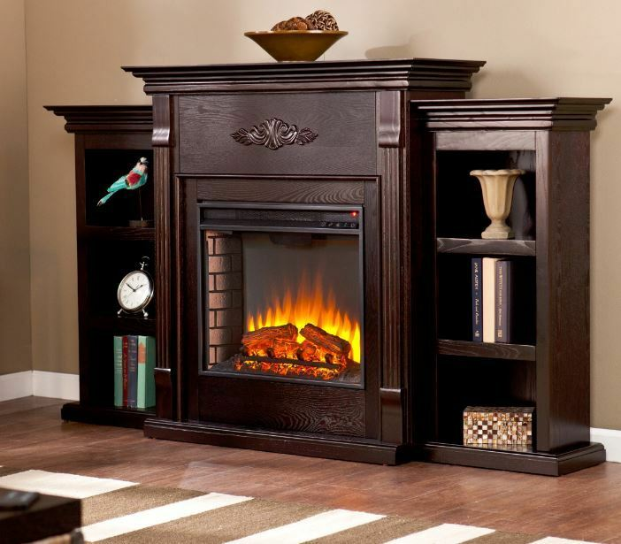 Electric Fireplace Tv Stand Entertainment Center Heater Mantel Storage Console Ebay