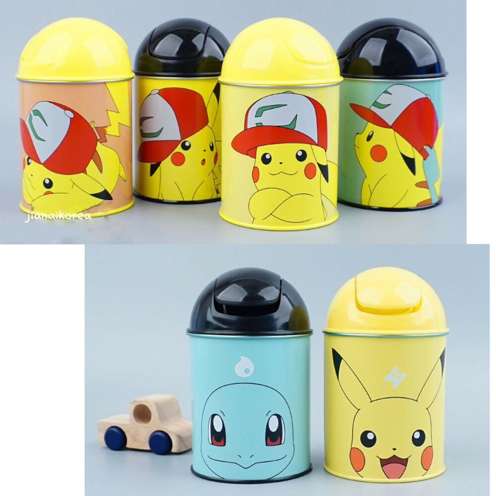 Pokemon Pikachu Mini Trash Can Push Waste Basket Interior