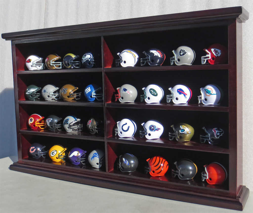 32 Pocket Pro Nfl Mini Helmet Display Case Shadow Box Wall
