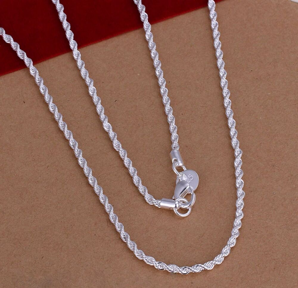 Silver Rope Bracelet: 925 Sterling Silver Plated 2MM Twist ROPE Chain Necklace